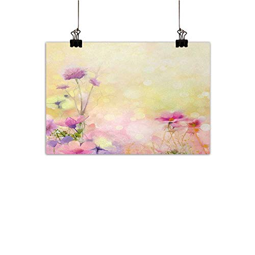 Anzhutwelve Flower Abstract Painting Vintage Soft Colored Feminine Magnolia Blooms Whorls Motif Artwork Print Natural Art Pink Light Yellow 35