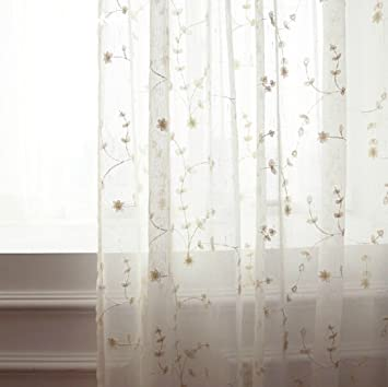Amazon.com: FADFAY, Embroidery Sheer Curtains for Living Room and ...