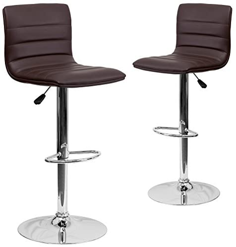 Flash Furniture 2 Pk. Contemporary Brown Vinyl Adjustable Height Barstool with Horizontal Stitch Back and Chrome Base –