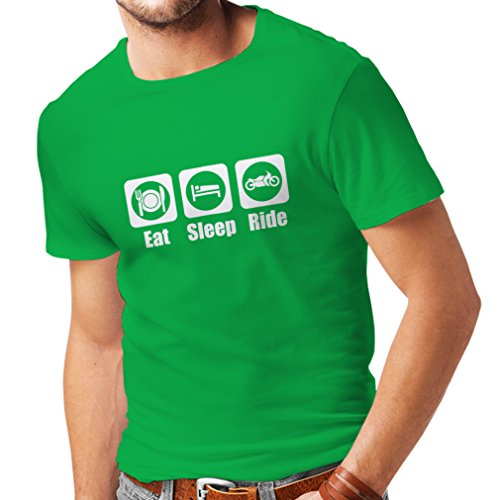 T Shirts for Men with Sayings Eat Sleep Ride - Motorbike Quotes, Biker Gift Ideas (Large Green - Gift Band Personalized T-shirt