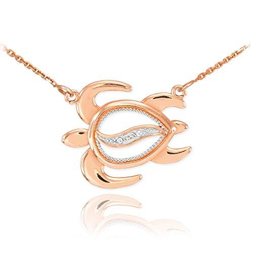 Fine 14k Rose Gold Diamond-Accented Lucky Hawaiian Honu Turtle Necklace, ()