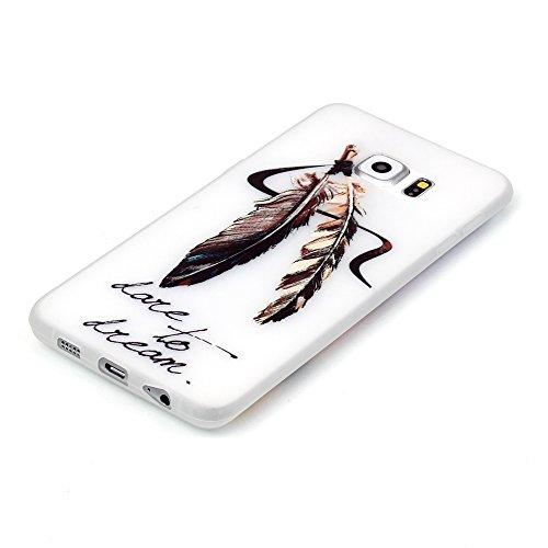 AllDo Funda Silicona para Samsung Galaxy S6 Edge Carcasa Protectora Caso Suave TPU Soft Silicone Case Cover Bumper Funda Ultra Delgado Carcasa Flexible Ligero Caja Anti Rasguños Casco Anti Choque - Pl