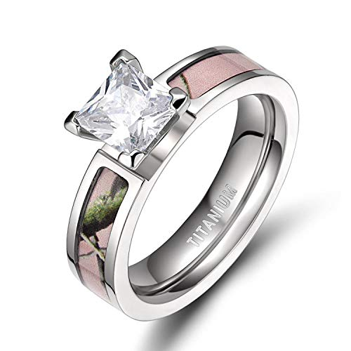 TIGRADE Pink Camo Titanium Rings for Women with Cubic Zirconia 5mm (Wedding Rings Pink Camo)
