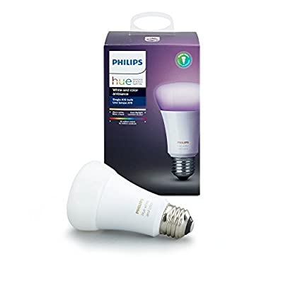 Philips 464487 Hue White and Color Ambiance A19 60W Equivalent Dimmable LED Smart Bulb Compatible with Amazon Alexa, Apple Homekit, and Google Assistant