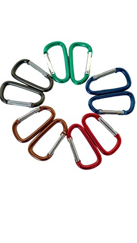 25cm-Assorted-Colors-D-Shape-Spring-loaded-Gate-Aluminum-Carabiner-for-Home-Rv-Camping-Fishing-Hiking-Traveling-and-Keychain
