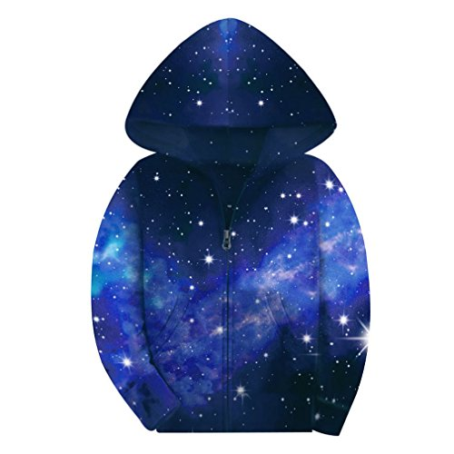 SAYM Big Boys' Youth Galaxy Teen Jackets Fleece Full Zip Hooded Hoodie 4-15Y NO16 M ()