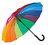 Variety To Go Rainbow Umbrella Large, 16 Ribs Rainbow Umbrella, Rainbow Umbrella for Girls,Men and Women (Hook Handle)