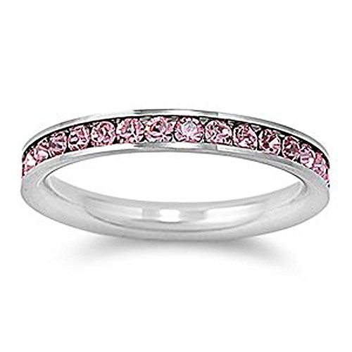 Stainless Steel Eternity Pink Cz Wedding Band Ring 3mm (Size 3,4,5,6,7,8,9,10) ; Comes with Box