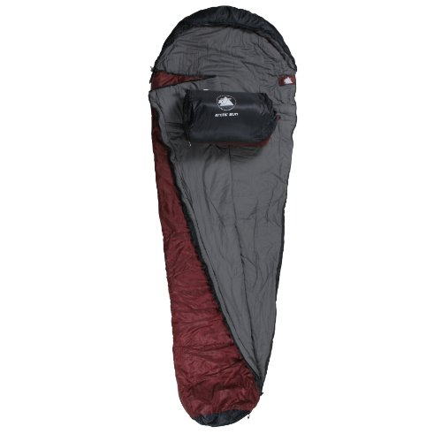 10T Arctic Sun - Single mummy sleeping bag, 230x85 cm red/dark red, 1700 g, up to -16°C