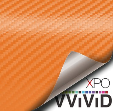(VViViD XPO Orange 3D Carbon Fiber Vinyl Wrap Roll with Air Release Technology (25ft x 5ft))