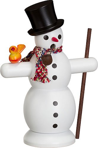 Seiffener Volkskunst German incense smoker snowman with scarf, height 16 cm / 6 inch, original Erzgebirge by SV 12202 by Seiffener Volkskunst (Image #3)