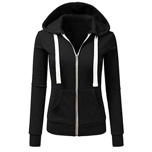 Price comparison product image Shybuy Women Lightweight Solid Zip-up Hoodie Active Jacket Slim Fit Long Sleeve Casual Sport Coat (Black,  L)