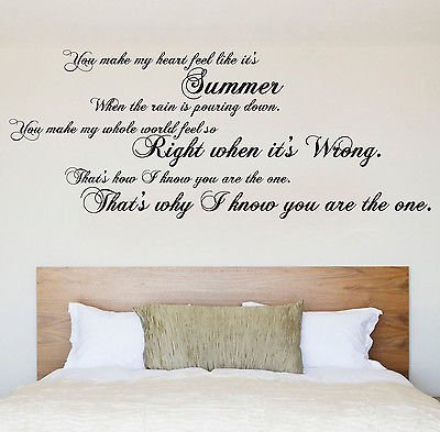 Kodaline The One Lyrics Large Wall Art Pop Quote Bedroom Sticker Decal Mural