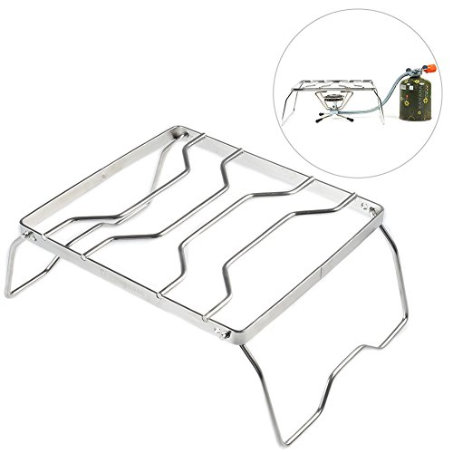 RUNACC Camping Stove Stand Stainless Steel Stove Stand Practical Burner Stand, Silver by RUNACC