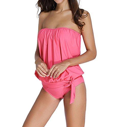 Ropa de baño Mujeres Atractiva vendaje vestido Trajes de una pieza de baño traje de baño Mono Bikini Pink