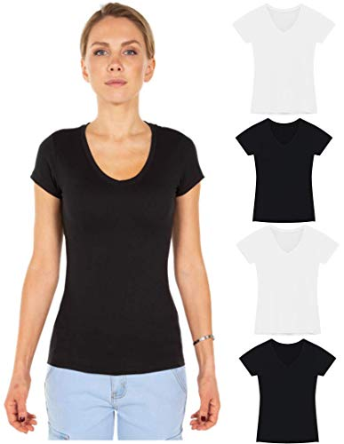 4 Pack Essential V Neck T-Shirts for Women | Classic Fit Short Sleeve Basic Tee (Large, 2 Black-2 White)