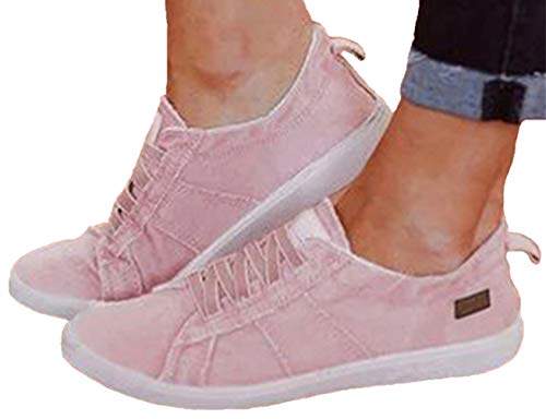 (Snowchers Womens Canvas Sneaker Shoes Slip on Flats X-Pink US 8)
