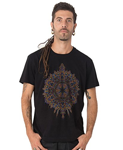 (Mexica Men's 100% Cotton T-Shirt with Exclusive Psychedelic Mandala Design - Festival Clothing in Black - XL)