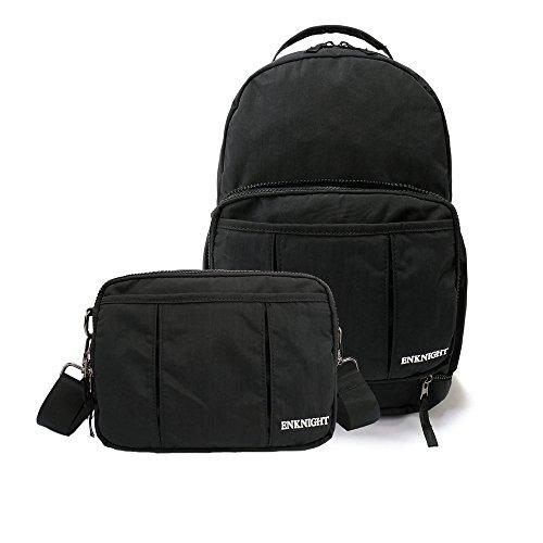 ENKNIGHT Backpack Shoulder Bag Handy Packable Rucksack Small Day Tote Bag Women`s Cross body Bag for Travel Black