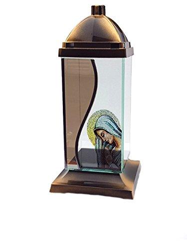 Grablaterne aus Glas, Grablampe, Grablicht, Grableuchte GLAS MARIA 1G www.grabplatten-memoria.de
