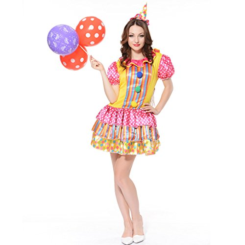 flatwhite Women's Color Circus Clown Costume (One Size) ()