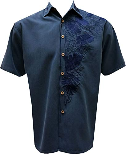 (Bamboo Cay Mens Island Leaf Nation Short Sleeve Floral Embroidered Camp Shirt (X-Large, Navy))