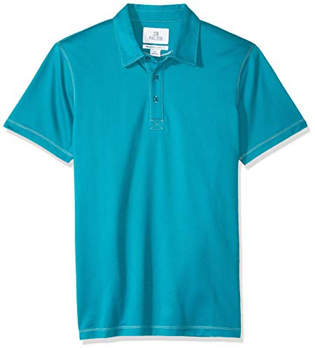 28 Palms Men's Relaxed-Fit Performance Cotton Tropical Print Pique Golf Polo Shirt, Teal Solid, XX-Large