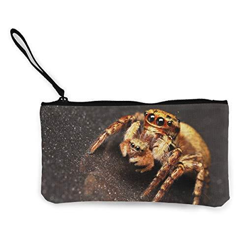Oomato Canvas Coin Purse Spider Head Eye Cosmetic Makeup Storage Wallet Clutch Purse Pencil Bag ()