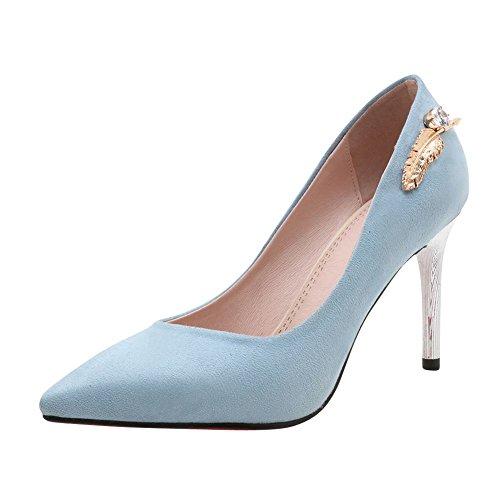 Mee Shoes Damen high heels Nubuck Geschlossen Pumps Blau