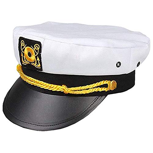 - JonerytimeSailor Ship Yacht Boat Captain Hat Navy Marines Admiral White Gold Cap