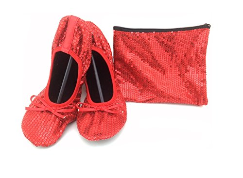 Shoes 18 Women's Foldable Portable Travel Ballet Flat Shoes w/Matching Carrying Case Ruby Red Sequin 7/8 Adult Ruby Red Slippers