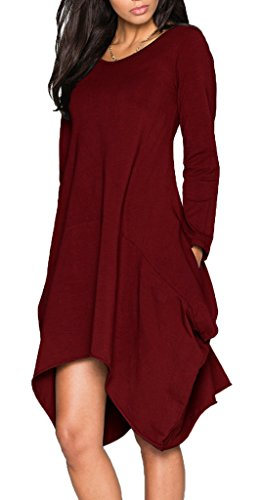 Ladylala Women's Long Sleeve Pockets Loose Casual Dress Red 2XL