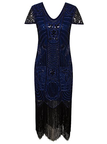 Vijiv 1920s Vintage Inspired Sequin Embellished Fringe Long Gatsby Flapper Dress,Blue,X-Large -