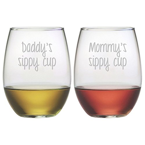 Susquehanna Glass, Mommy and Daddy Sippy Cup Stemless Wine Tumbler Set of 2 , 21 oz, Hand Etched
