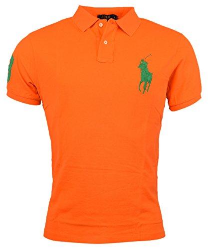 Polo Ralph Lauren Mens Custom Fit Big Pony Mesh Polo Shirt - L - - Lauren Ralph Orange