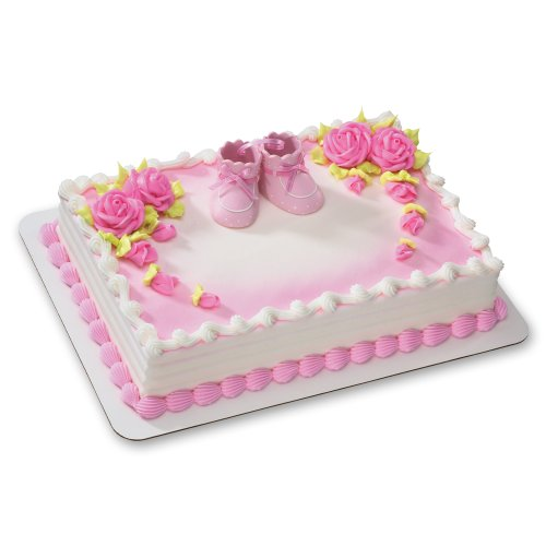 Pink Baby Booties DecoSet Cake Decoration]()