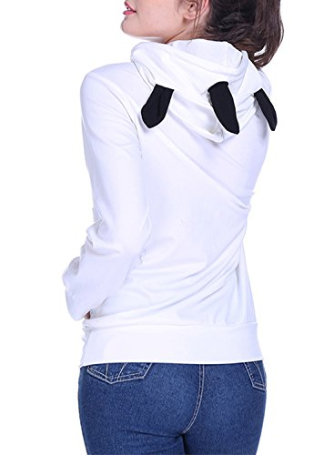 ACHICGIRL Mujer Moda Sudadera con Capucha Pullover Estampada Letras Unicorn blanco