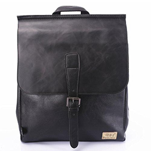 Soft PU Leather Travel bag Laptop Backpack School Rucksack(Blue) - 9
