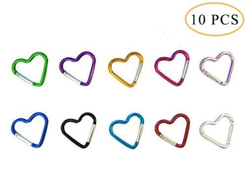 (Hamosky Keychain Heart Shaped Aluminum Alloy Locking Mounting Carabiner Snaphook Hook Holder (Ten colors)£¬Valentine's Day present for Lover)