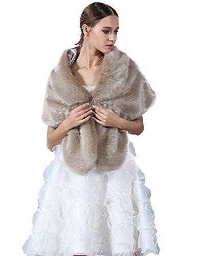 Fur Handmade Faux (Elegant Handmade Premium Faux Fox Fur Casual, Party/Evening Shawls, Scarf Wraps , (Khaki))