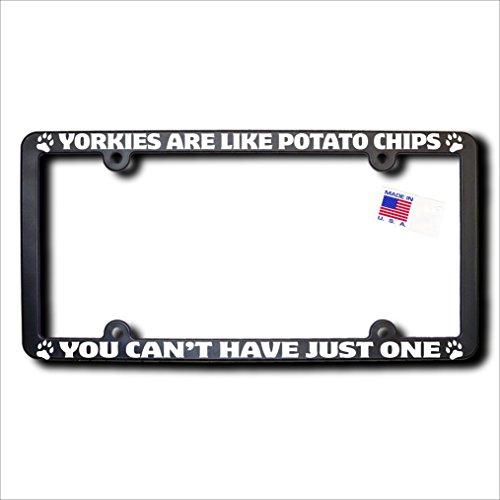 James E. Reid Design Yorkies are Like Potato Chips License Frame