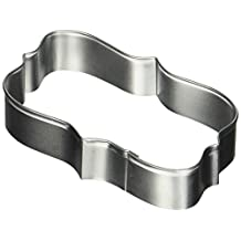 Oasis Supply R and M Rectangle Plaque Tinplated Cookie Cutter 4.25-Inch, Silver