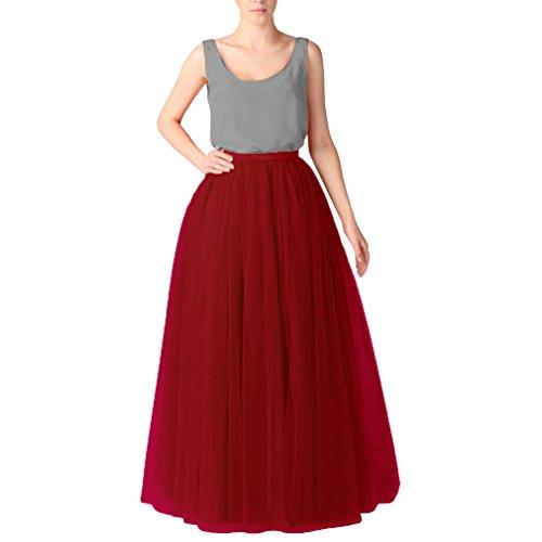 Wedding Planning Women's Long Tutu Tulle Skirt A Line Floor Length Skirts Medium Burgundy