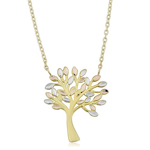 Kooljewelry 10k Tricolor Gold Tree of Life Necklace (adjusts to 17 or 18 inch)