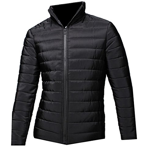 Black Long Quilted Warm AngelSpace Sleeve Jacket Down Outwear Solid Men's Slim qWwfATv