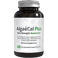 AlgaeCal Plus - Natural Calcium, Magnesium, Vitamin K2 + D3 Supplement - Increase Bone Strength - All Natural Ingredients - Plant-Based - Dietary Supplement - One Bottle - 120 veggie capsules