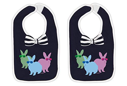 Baby Bibs Bow Tie Bib Spring Baby Gifts Easter Baby Gifts Cool Easter Bunnies Baby Bow Tie Navy 2-Pack
