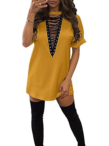 Womens Lace Up Front Half Sleeves Casual Loose T shirt Dress Yellow L