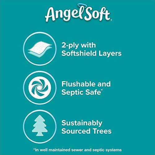 Angel Soft Toilet Paper with Fresh Linen Scent, 6 Mega Rolls=24 Regular Rolls, 390+ 2-Ply Sheets