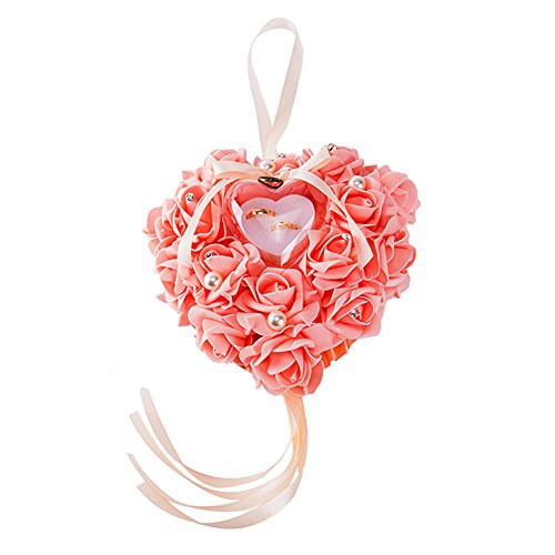 - Heart Shape Wedding Hanging Ring Pillow White Elegant Rose And Rhinestone Decoration Ring Cushion Bearer Box Jewery Case With Ribbon Bowknot Ceremony Supplies Gift